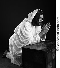 Jesus Christ of Nazareth praying black and white