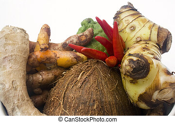 Asian cooking ingredients - Coconut, small red chili...