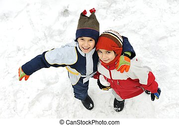 Friends brothers together on snow