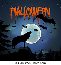Halloween background with the wolf howls of moon - Halloween...