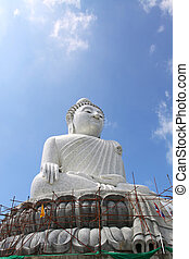 The Biggest white holy Buddha in the world on Phuket Mountain Thailand
