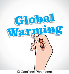 Global Warming Word sticker in Hand Stock Vector