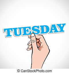 Tuesday Word sticker in Hand Stock Vector