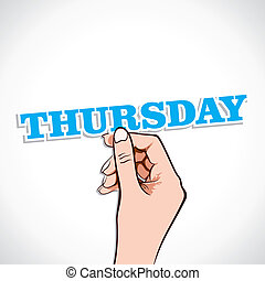 Thursday Word sticker in Hand Stock Vector