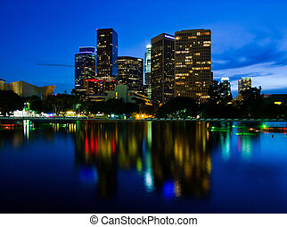 Los Angeles at night - Office buildings in Los Angeles at...