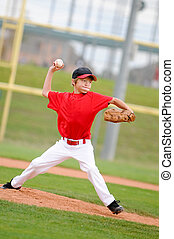 Pitcher in red throwing the pitch. - Little league pitcher...