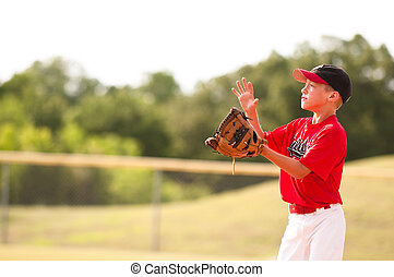 Little league baseball player catching the ball. - Young...