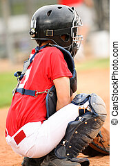 Catcher in red jersey - Lilttle league baseball catcher...