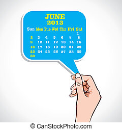 june 2013 Calender In Hand Stock Vector