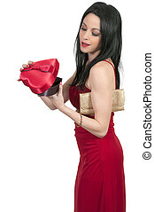 Valentines Day Heart Box Gift Woman - Beautiful young woman...