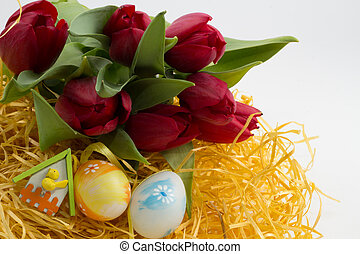 easter flowers, eggs isolated on white