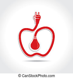 Wired Apple with bulb and plug stock vector