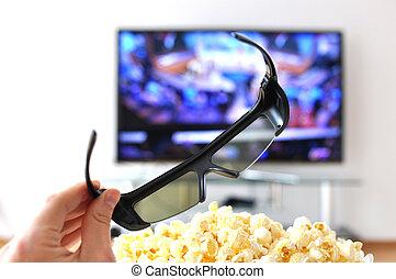 3D glasses against TV-set