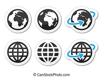 Globe earth vector icons set with r - World, map of...