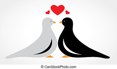 A couple bird falling in love on white background
