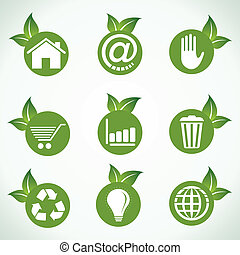 Different icons & design with leaf - Different icons and...