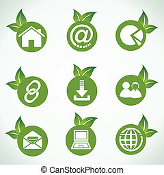 Web icons and design with leaf - Web icons and design with...