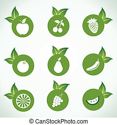 Different fruit icons with leaf
