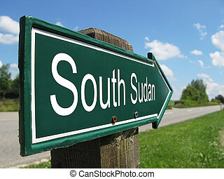 SOUTH SUDAN signpost along a rural road