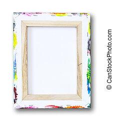 lona, Maca, acrílico, pintura, borda, isolado, branca