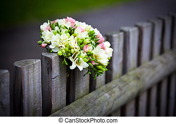 Wedding bouquet on rustic country fence - Wedding bouquet...