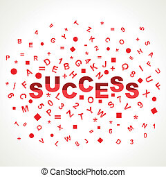 Success word with in alphabets stock vector