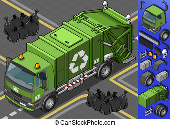 isometric garbage truck - Detailed illustration of a...