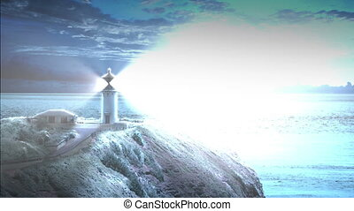 Lighthouse at Night - Looping animation with a lighthouse...