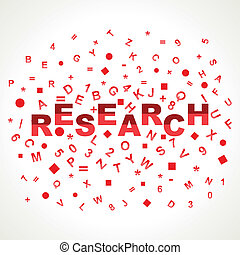 Research word with in alphabets stock vector