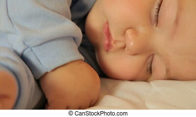 Baby sleeping face closeup