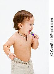 Singing toddler boy
