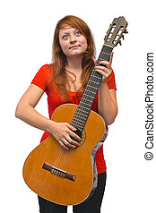 Young woman and guitar isolated on white background