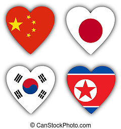 Flags in the shape of a heart, coutries - Flags in the shape...