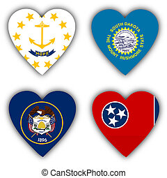 Flags in the shape of a heart, US states - Flags in the...