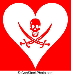 Pirate flag in the shape of a heart, red and white