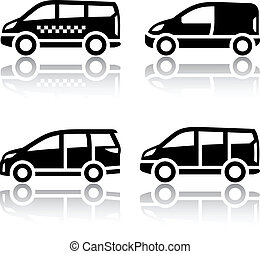 Set of transport icons - Cargo van, vector illustration on a...