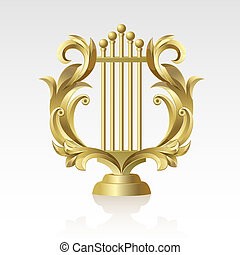 27 Lyre - Golden Golden Lyre on a white background on a...