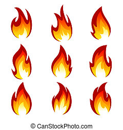 Set of flame - Flames of different shapes on a white...