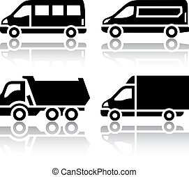 Set of transport icons - freight transport, vector...