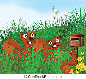 Three squirrels with a wooden mailbox - Illustration of the...