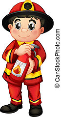 A fire man holding a fire extinguisher - Illustration of a...