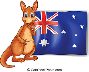 A kangaroo beside an Australian flag - Illustration of a...