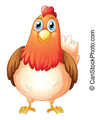 A big fat hen - Illustration of a big fat hen on a white...