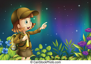 A girl in a rainforest - Illustration of a girl in a...