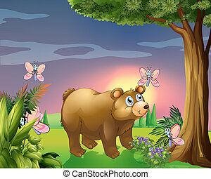A bear under the tree with four butterflies
