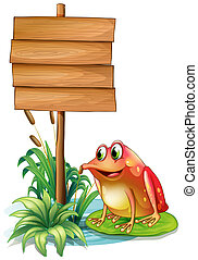 A frog above a waterlily beside a wooden signboard -...