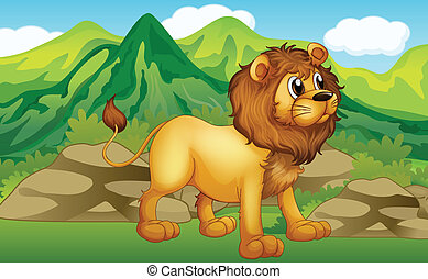 A lion in a mountain scenery