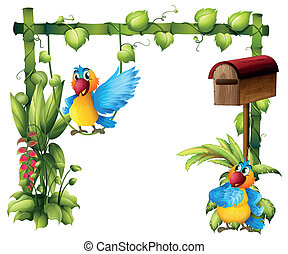 Two parrots with a wooden mailbox - Illustration of two...