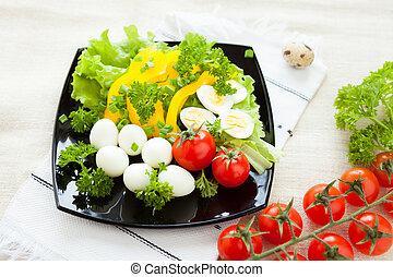 vegetal, ensalada, hervido, codorniz, huevos