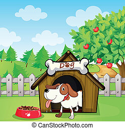 A dog inside a doghouse with a dogfood - Illustration of a...